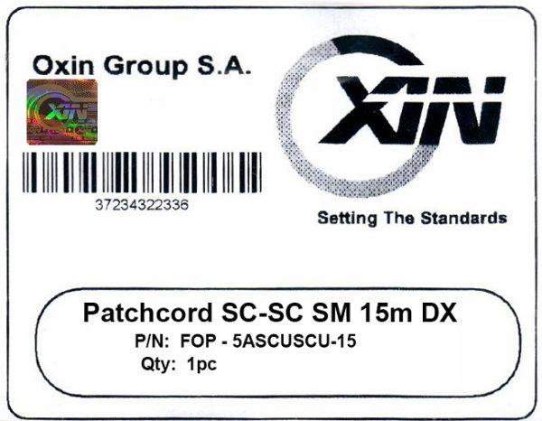 پچ کورد فیبر نوری ۱۵ متری - SC-SC سینگل مود - اکسین 3